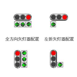 横型信号機と縦型信号機の矢印配置