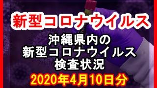 【2020年4月10日分】沖縄県内で実施されている新型コロナウイルスの検査状況について