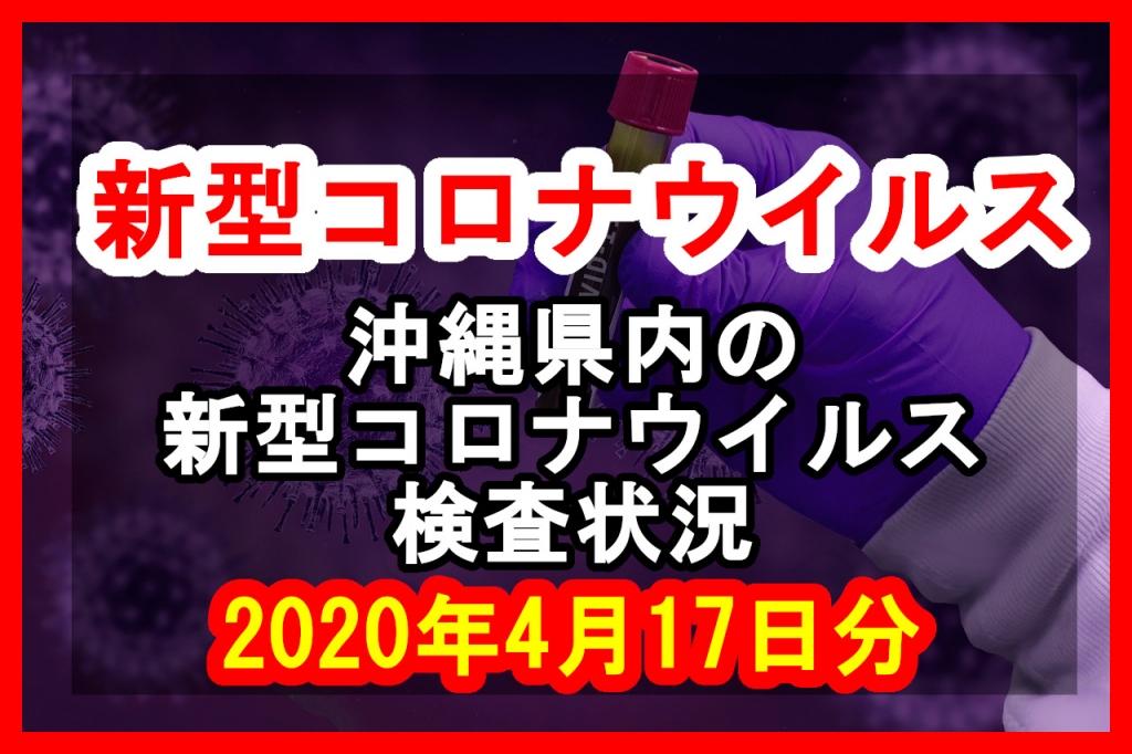 【2020年4月17日分】沖縄県内で実施されている新型コロナウイルスの検査状況について