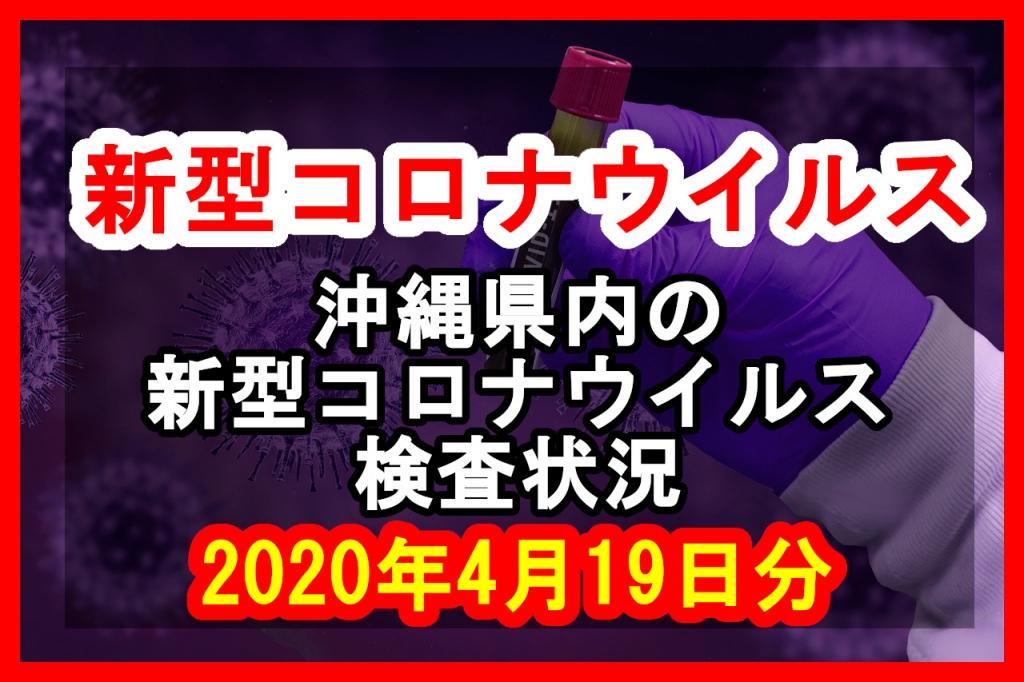 【2020年4月19日分】沖縄県内で実施されている新型コロナウイルスの検査状況について