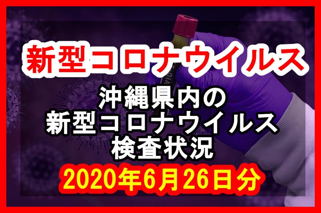 【2020年6月26日分】沖縄県内で実施されている新型コロナウイルスの検査状況について