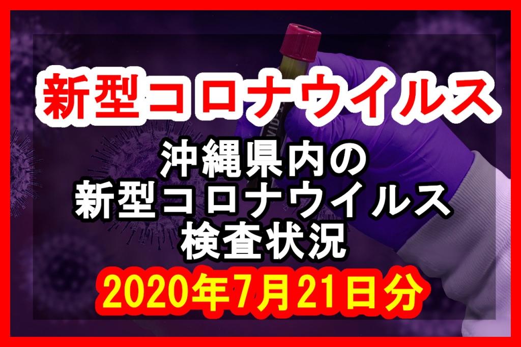 【2020年7月21日分】沖縄県内で実施されている新型コロナウイルスの検査状況について