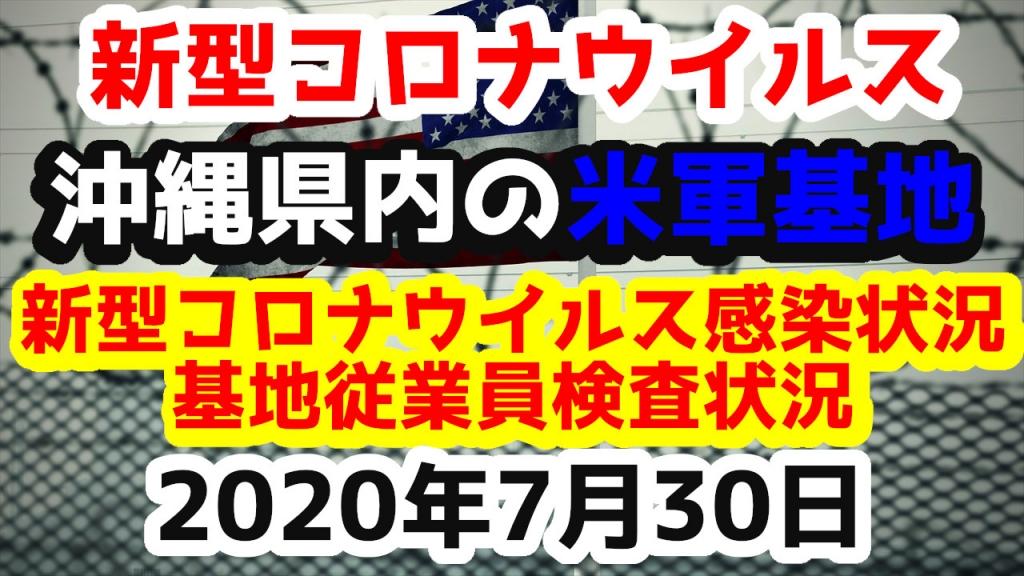 【2020年7月30日】沖縄県内の米軍基地内における新型コロナウイルス感染状況と基地従業員検査状況