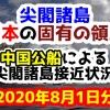 【2020年8月1日分】尖閣諸島は日本固有の領土 中国公船による尖閣諸島接近状況
