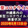【2020年8月13日分】沖縄県内で実施されている新型コロナウイルスの検査状況について