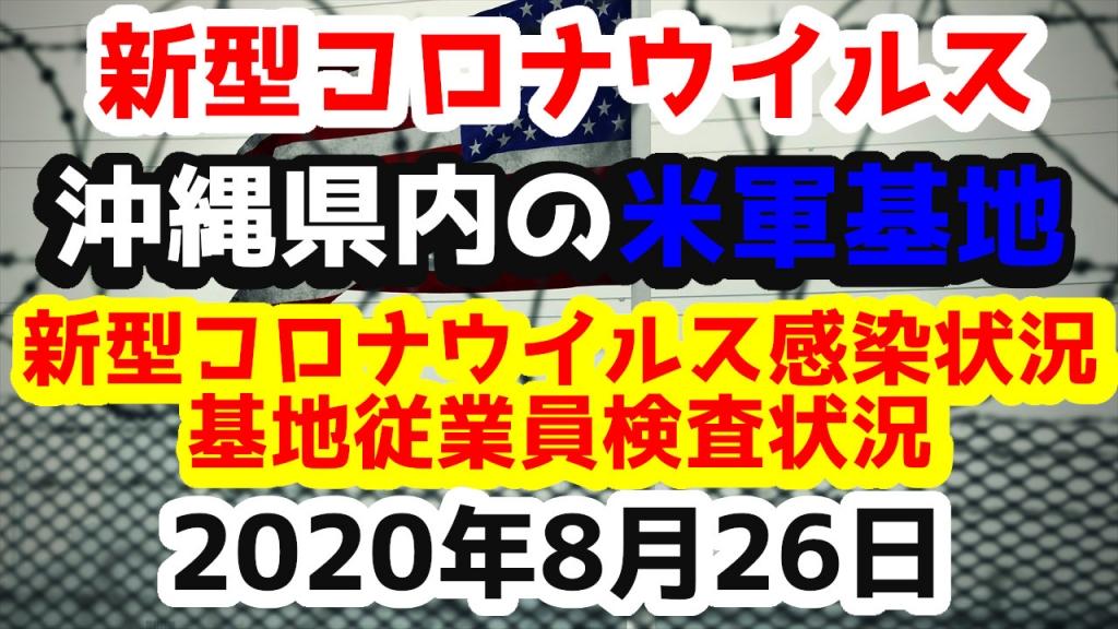 【2020年8月26日】沖縄県内の米軍基地内における新型コロナウイルス感染状況と基地従業員検査状況