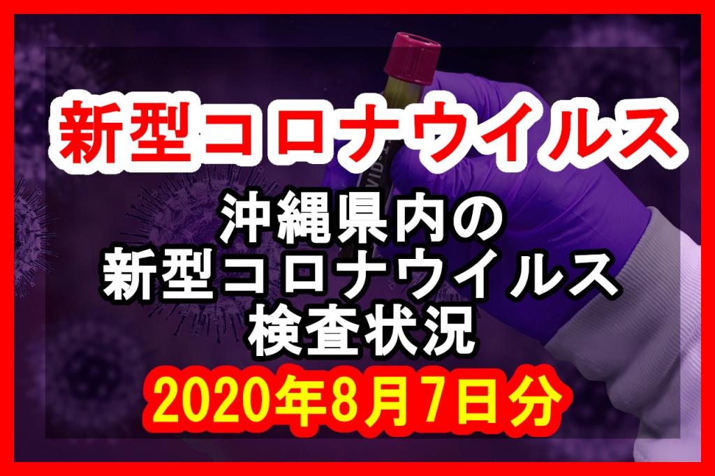 【2020年8月7日分】沖縄県内で実施されている新型コロナウイルスの検査状況について