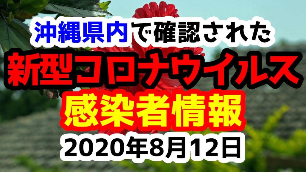 2020年8月12日に発表された沖縄県内で確認された新型コロナウイルス感染者情報一覧