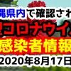 2020年8月17日に発表された沖縄県内で確認された新型コロナウイルス感染者情報一覧