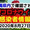 2020年8月27日に発表された沖縄県内で確認された新型コロナウイルス感染者情報一覧