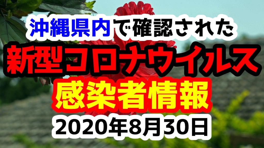 2020年8月30日に発表された沖縄県内で確認された新型コロナウイルス感染者情報一覧
