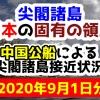 【2020年9月1日分】尖閣諸島は日本固有の領土 中国公船による尖閣諸島接近状況