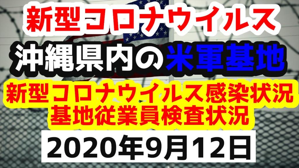 【2020年9月12日】沖縄県内の米軍基地内における新型コロナウイルス感染状況と基地従業員検査状況
