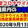 【2020年9月13日】沖縄県内の米軍基地内における新型コロナウイルス感染状況と基地従業員検査状況