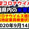 【2020年9月14日】沖縄県内の米軍基地内における新型コロナウイルス感染状況と基地従業員検査状況