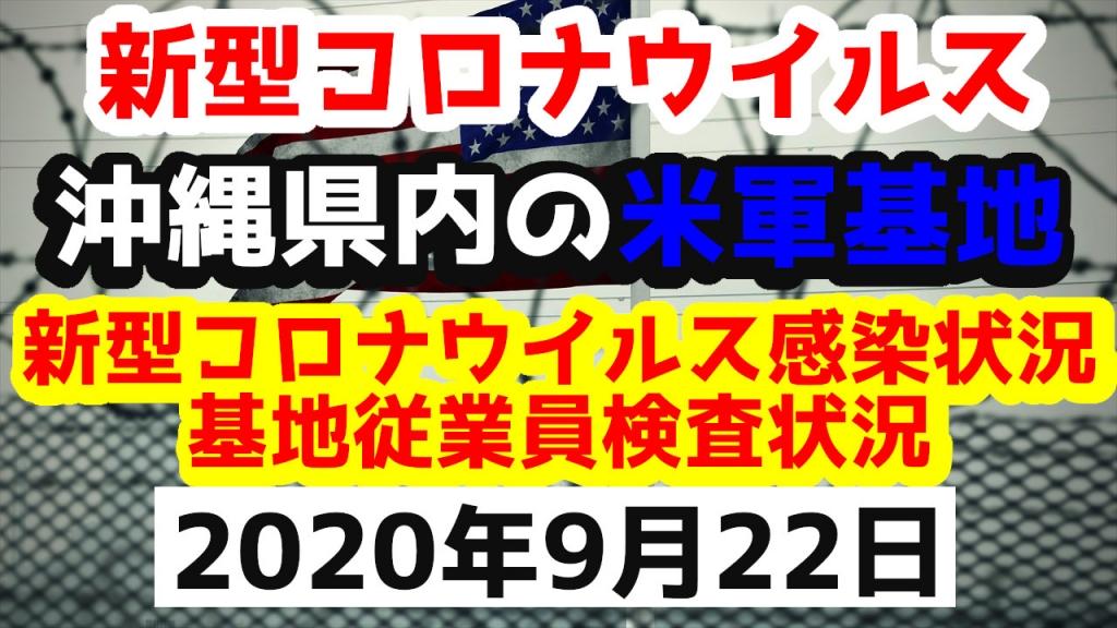 【2020年9月22日】沖縄県内の米軍基地内における新型コロナウイルス感染状況と基地従業員検査状況