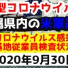 【2020年9月30日】沖縄県内の米軍基地内における新型コロナウイルス感染状況と基地従業員検査状況