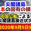 【2020年9月5日分】尖閣諸島は日本固有の領土 中国公船による尖閣諸島接近状況
