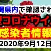2020年9月12日に発表された沖縄県内で確認された新型コロナウイルス感染者情報一覧