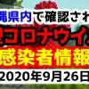 2020年9月26日に発表された沖縄県内で確認された新型コロナウイルス感染者情報一覧