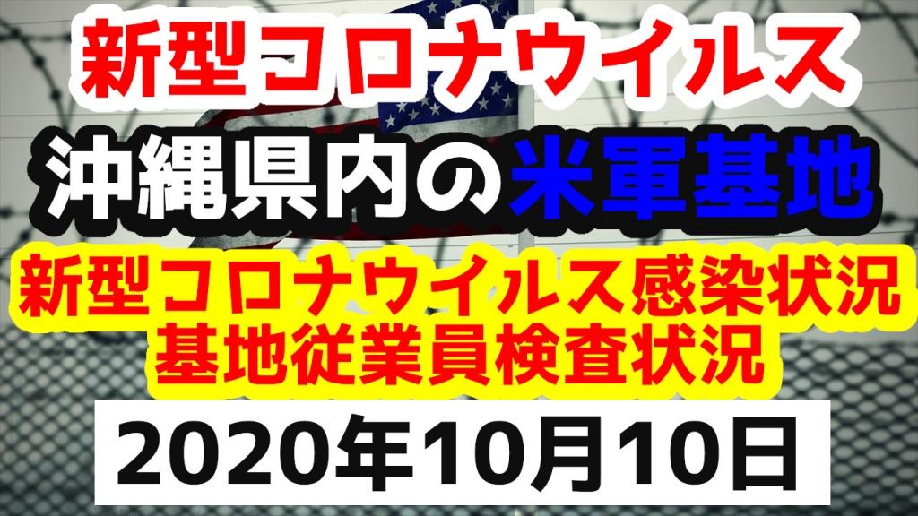 【2020年10月10日】沖縄県内の米軍基地内における新型コロナウイルス感染状況と基地従業員検査状況