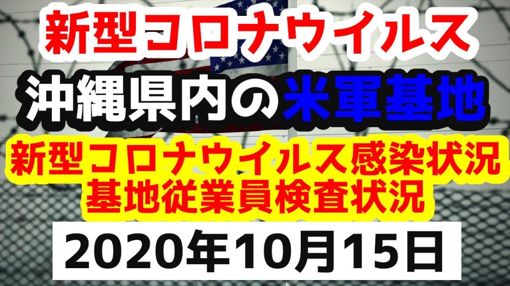 【2020年10月15日】沖縄県内の米軍基地内における新型コロナウイルス感染状況と基地従業員検査状況