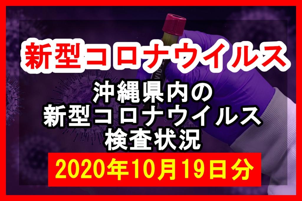 【2020年10月19日分】沖縄県内で実施されている新型コロナウイルスの検査状況について