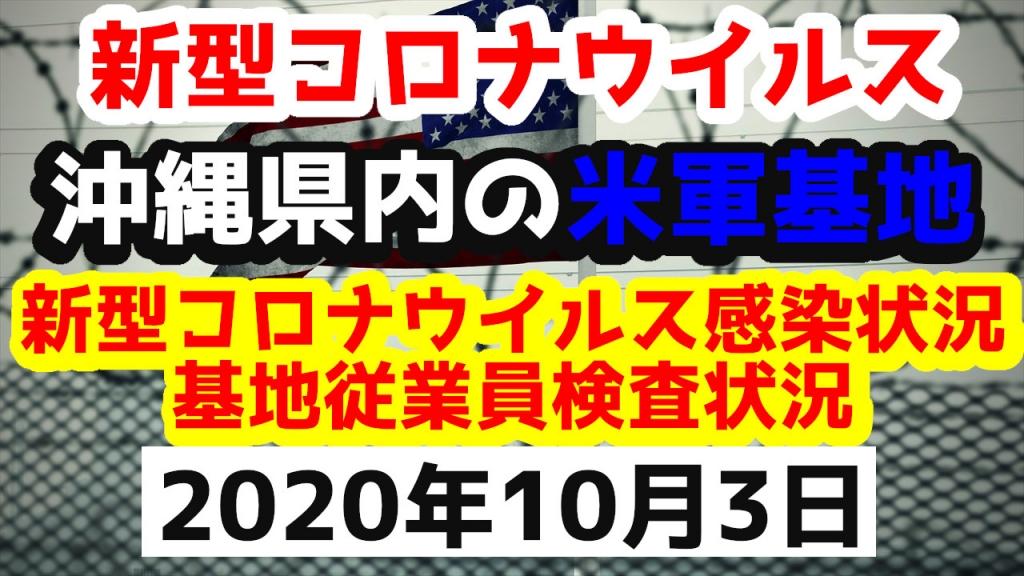 【2020年10月3日】沖縄県内の米軍基地内における新型コロナウイルス感染状況と基地従業員検査状況