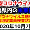 【2020年10月7日】沖縄県内の米軍基地内における新型コロナウイルス感染状況と基地従業員検査状況