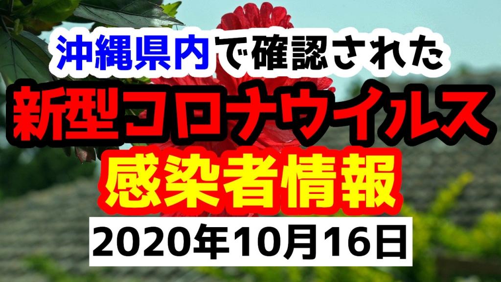 2020年10月16日に発表された沖縄県内で確認された新型コロナウイルス感染者情報一覧