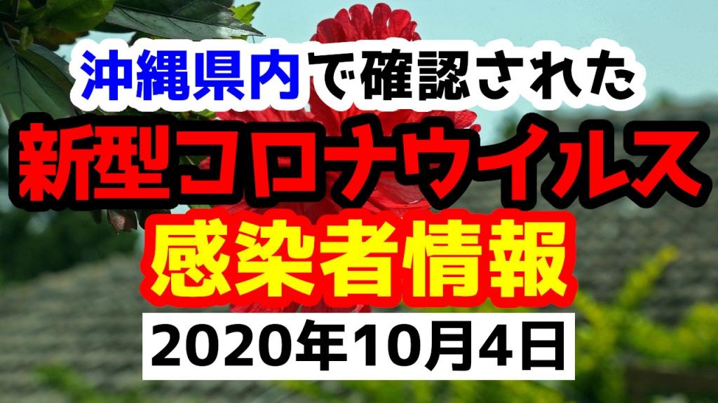 2020年10月4日に発表された沖縄県内で確認された新型コロナウイルス感染者情報一覧