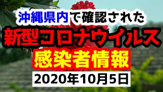 2020年10月5日に発表された沖縄県内で確認された新型コロナウイルス感染者情報一覧