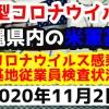 【2020年11月2日】沖縄県内の米軍基地内における新型コロナウイルス感染状況と基地従業員検査状況