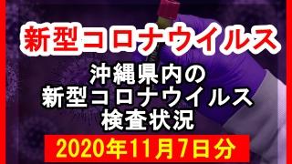 【2020年11月7日分】沖縄県内で実施されている新型コロナウイルスの検査状況について