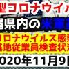 【2020年11月9日】沖縄県内の米軍基地内における新型コロナウイルス感染状況と基地従業員検査状況
