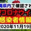 2020年11月19日に発表された沖縄県内で確認された新型コロナウイルス感染者情報一覧