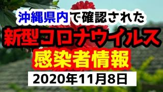 2020年11月8日に発表された沖縄県内で確認された新型コロナウイルス感染者情報一覧