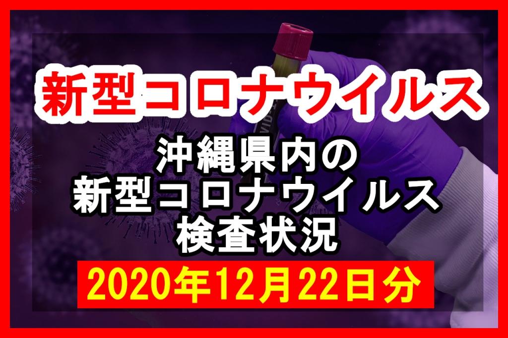 【2020年12月22日分】沖縄県内で実施されている新型コロナウイルスの検査状況について