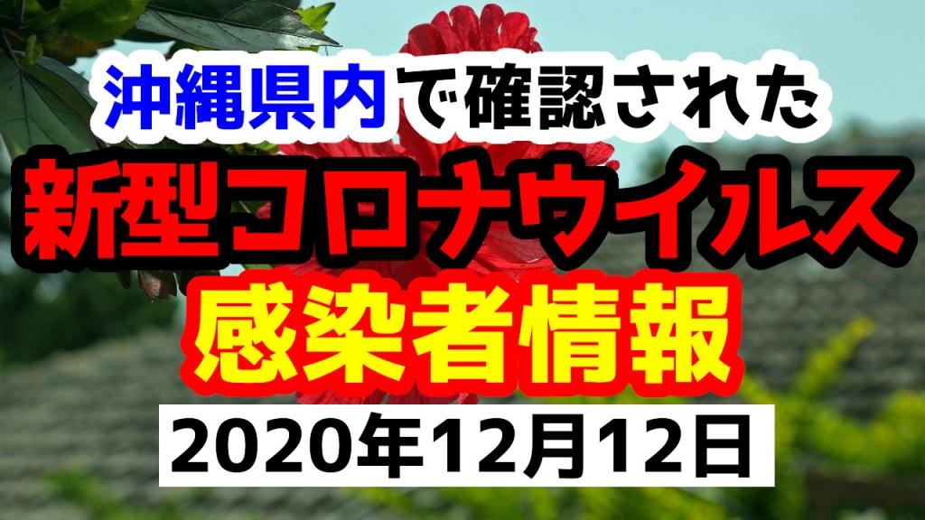 2020年12月12日に発表された沖縄県内で確認された新型コロナウイルス感染者情報一覧
