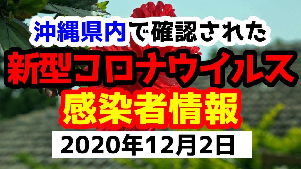2020年12月2日に発表された沖縄県内で確認された新型コロナウイルス感染者情報一覧