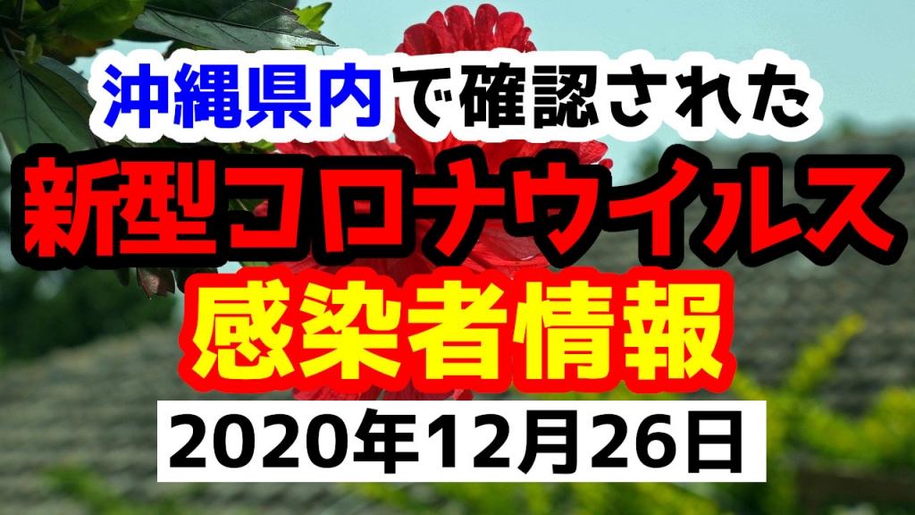 2020年12月26日に発表された沖縄県内で確認された新型コロナウイルス感染者情報一覧