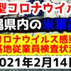 【2021年2月14日】沖縄県内の米軍基地内における新型コロナウイルス感染状況と基地従業員検査状況