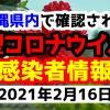 2021年2月16日に発表された沖縄県内で確認された新型コロナウイルス感染者情報一覧