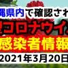 2021年3月20日に発表された沖縄県内で確認された新型コロナウイルス感染者情報一覧