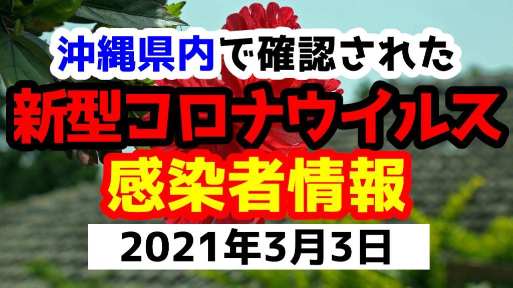 2021年3月3日に発表された沖縄県内で確認された新型コロナウイルス感染者情報一覧