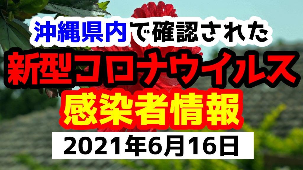 2021年6月16日に発表された沖縄県内で確認された新型コロナウイルス感染者情報一覧