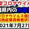 【2021年7月27日】沖縄県内の米軍基地内における新型コロナウイルス感染状況と基地従業員検査状況