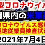 【2021年7月4日】沖縄県内の米軍基地内における新型コロナウイルス感染状況と基地従業員検査状況