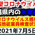 【2021年7月5日】沖縄県内の米軍基地内における新型コロナウイルス感染状況と基地従業員検査状況