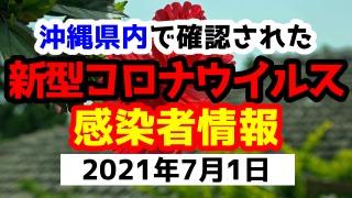 2021年7月1日に発表された沖縄県内で確認された新型コロナウイルス感染者情報一覧
